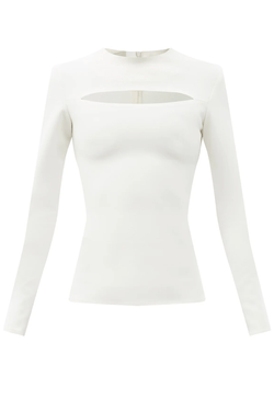 A.W.A.K.E Mode PSS21.T14.PL28 Cut Out Round Neck Top - Ivory