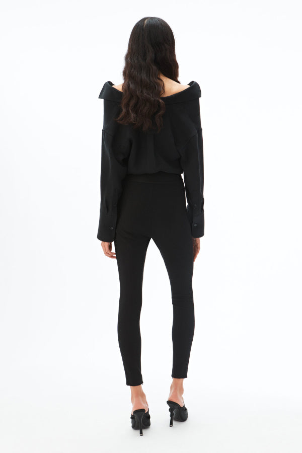 Alexander Wang 1WC1204218 Logo Elastic Zip Legging Black Back