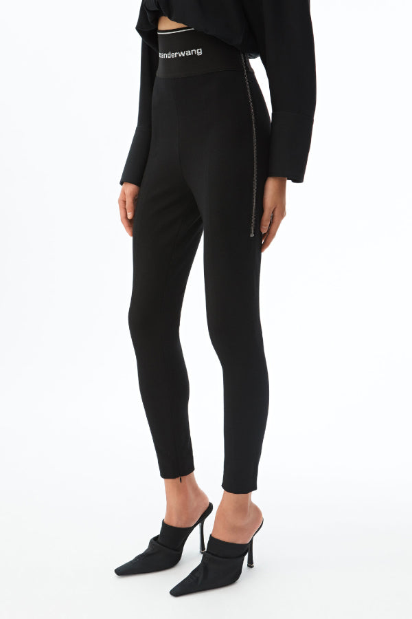 Alexander Wang 1WC1204218 Logo Elastic Zip Legging Black Side