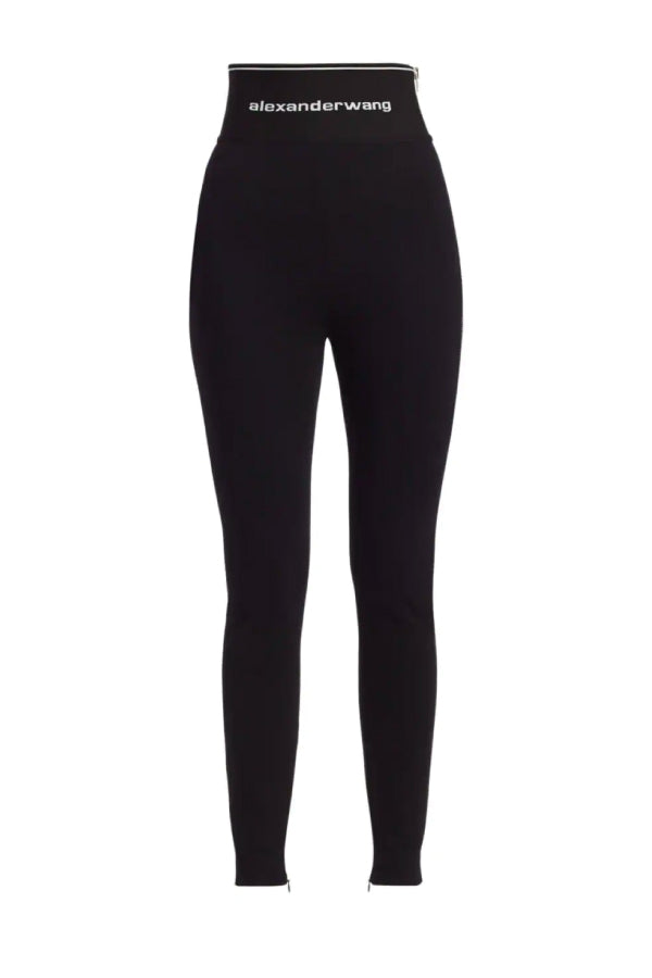Alexander Wang 1WC1204218 Logo Elastic Zip Legging Black