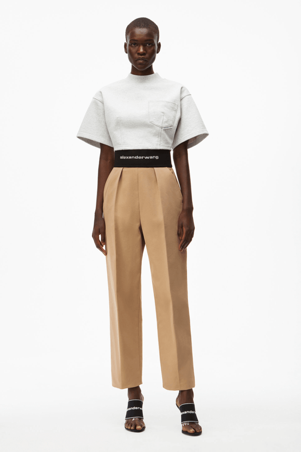 Alexander Wang 1WC2214345 Logo Elastic Straight Leg Trouser - Chino Front