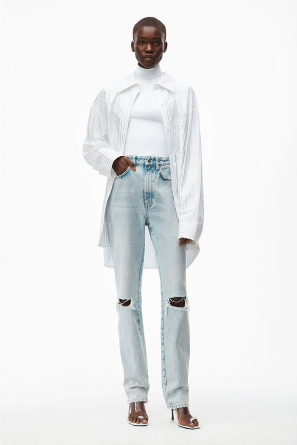 Alexander Wang.T 4DC2214341 High Waisted Dipped Back Jean - Pebble Bleach Front