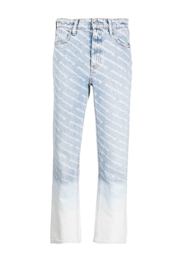 Alexander Wang.T 4DC2214906 High Rise Logo Ombre Jean - Pebble Bleach