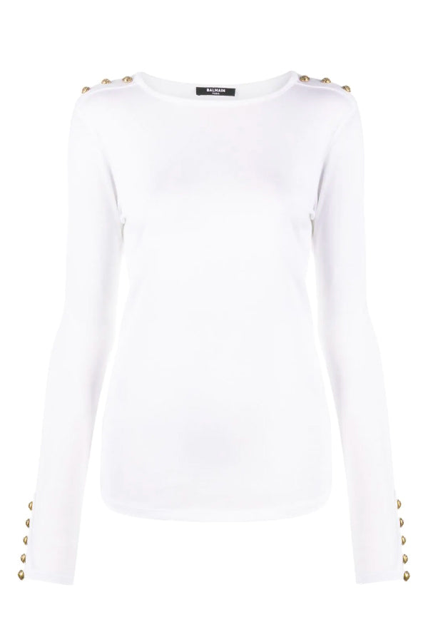 Balmain UF10533J031 Button Detail Jersey Shirt - White