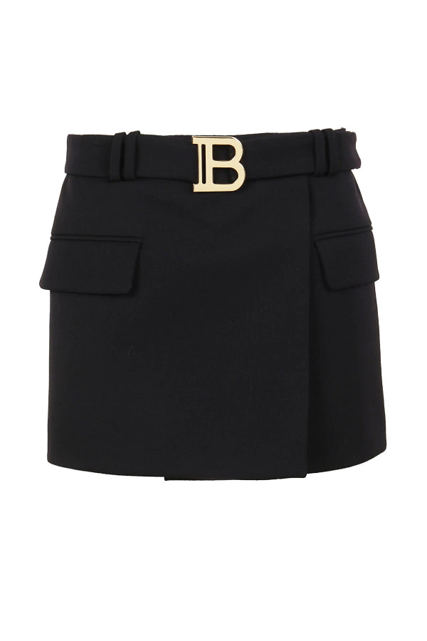 Balmain UF14014167L Short Low-Rise Belted Skirt - Black