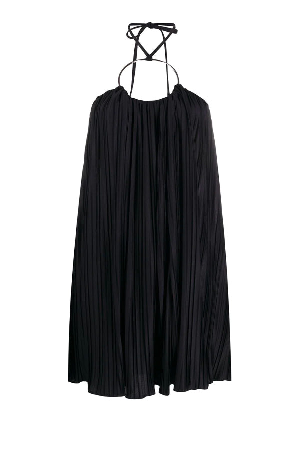 Balmain Short Ring Embellished Pleated Dress Black TF06077X370