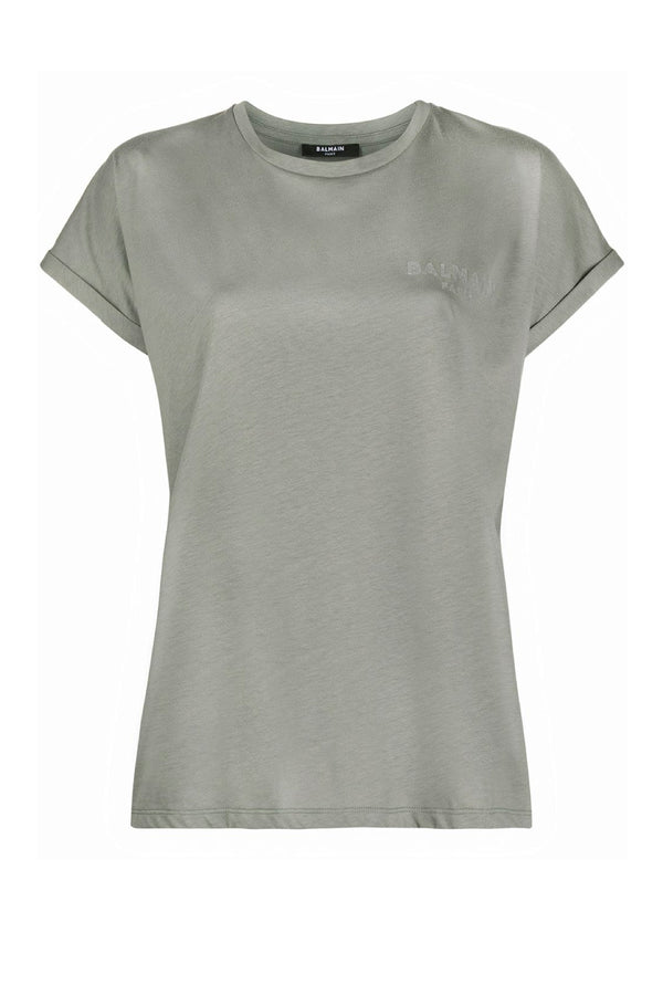 Balmain VF0EF010B013 Flocked Logo Detail T-Shirt - Gris