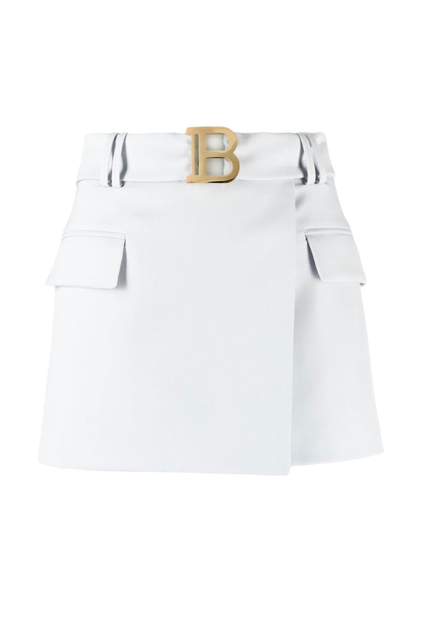 Balmain VF0LA005167L Short Belted Skirt - Gris Clair