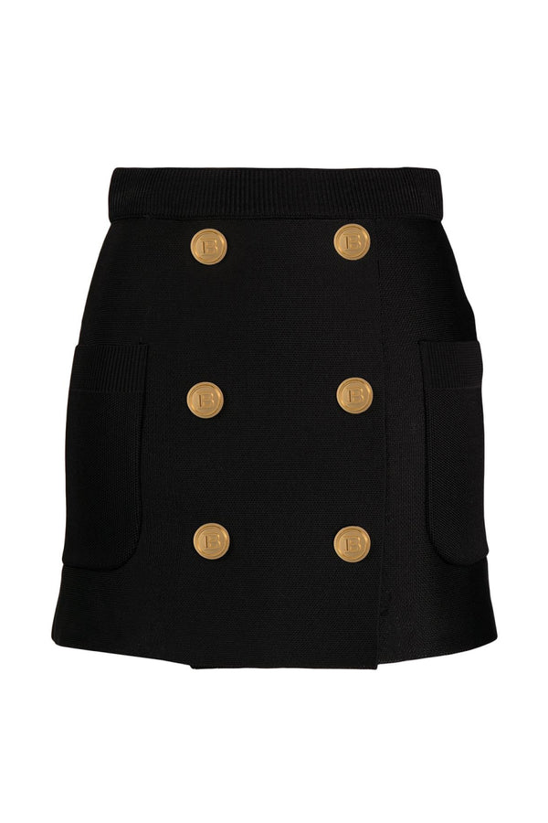 Balmain VF0LB100K257 Short 6 Button Knit Skirt - Noir