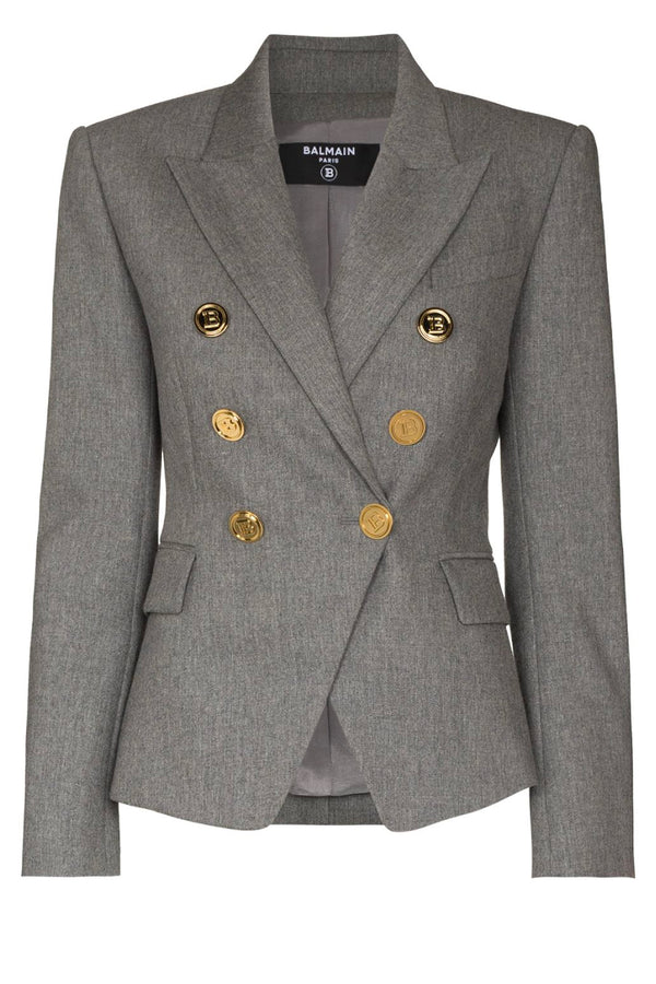 Balmain VF0SG000W128 6 Button Flannel Blazer - Gris Chine