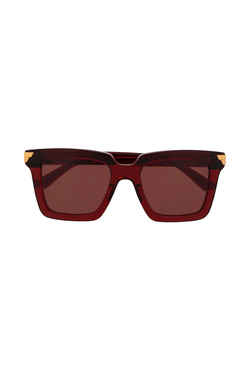 Bottega Veneta BV1005S003 Square Frame Sunglasses - Burgundy