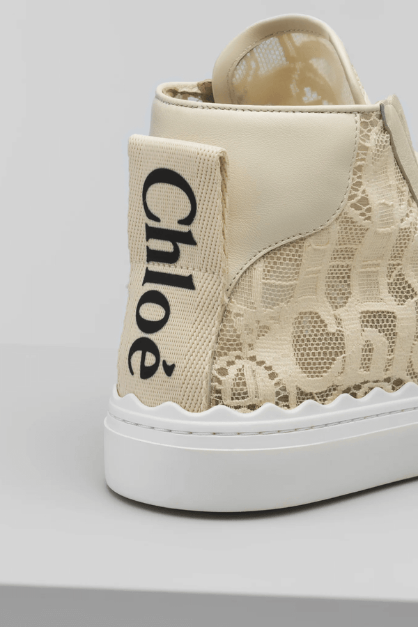Chloé CHC21S413D2 Lauren Lace High Top Sneaker - Mild Beige Detail