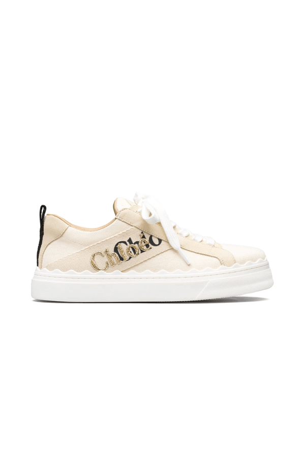 Chloé CHC21U108Q7 Lauren Embroidered Canvas Sneaker - White