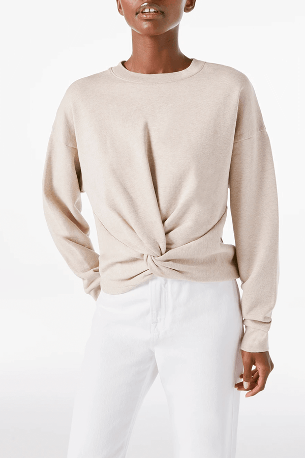 Frame Denim LWAC0368 Twisted Sweatshirt - Oatmeal Heather Front