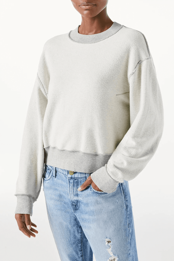 Frame Denim LWAC0380 Inverse Easy Organic Sweatshirt - Heather Grey Front