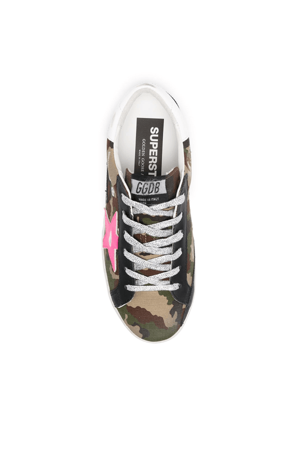 Golden Goose GWF00102.F000246.80257 Superstar Sneaker - Green Camo/ Fuchsia Top