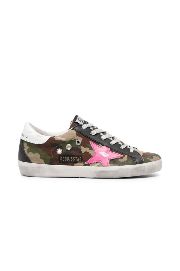 Golden Goose GWF00102.F000246.80257 Superstar Sneaker - Green Camo/ Fuchsia