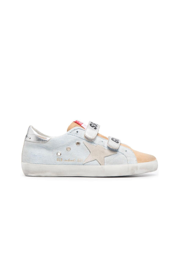 Golden Goose GWF00111.F001069.80815 Old School Denim Sneaker - Blue/ Cappucino