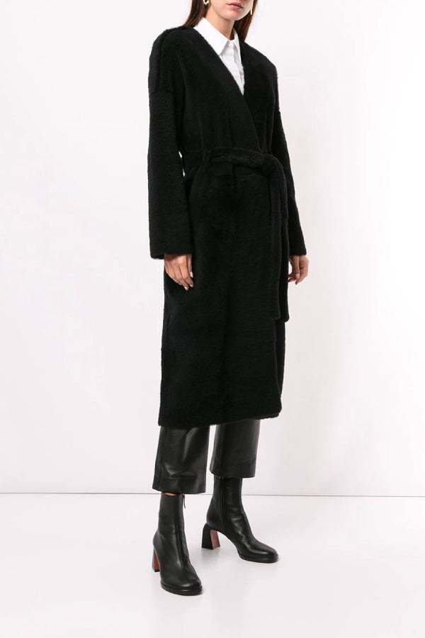 Ines Marechal Genie Shearling Belted Coat Marine Front