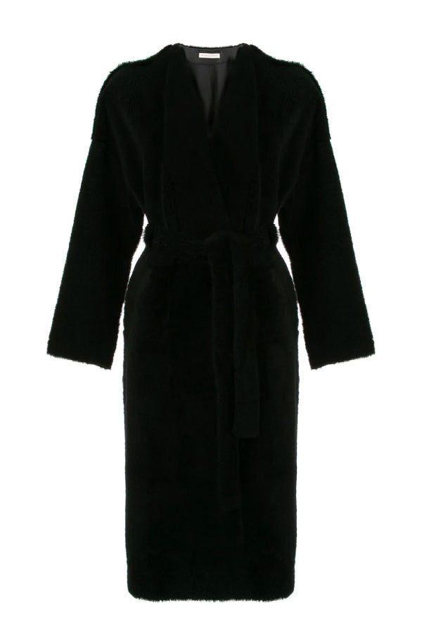 Ines Marechal Genie Shearling Belted Coat Marine