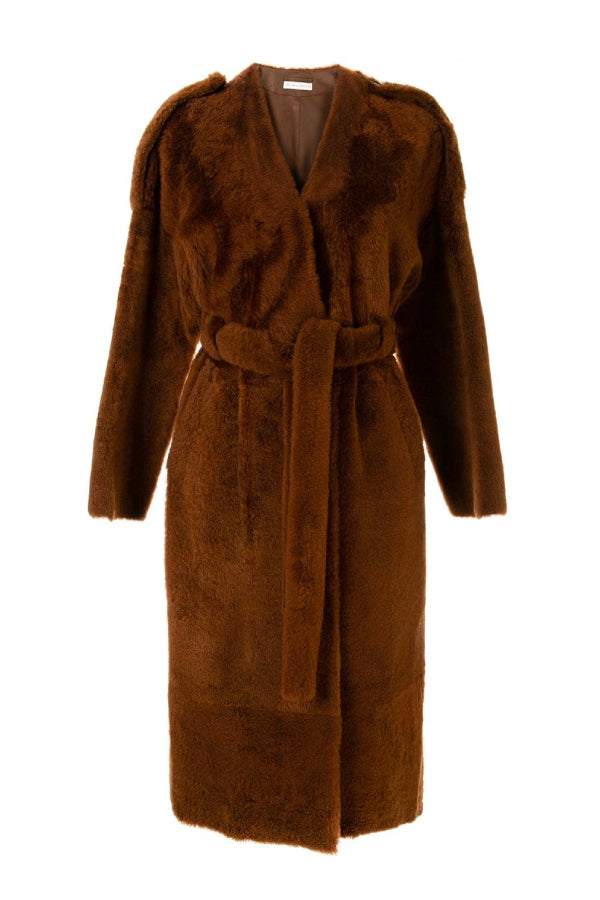 Ines Marechal Genie Shearling Belted Coat Squirrel