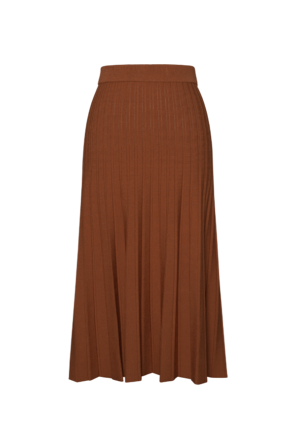 Jonathan Simkhai 121-3001-K Ira Compact Knit Pleated Skirt - Tobacco