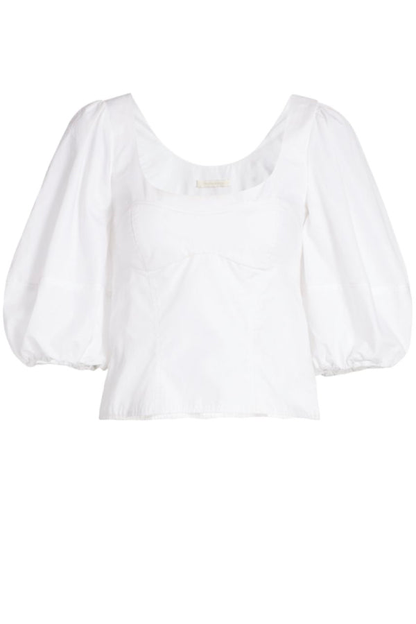 Jonathan Simkhai 420-2083-O Joy Puff Sleeve Top - White