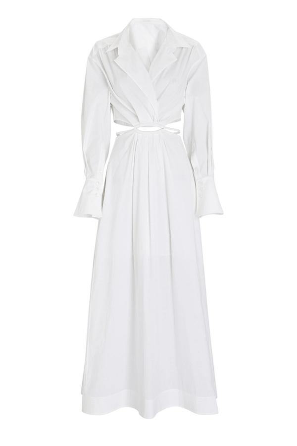 Jonathan Simkhai 221-1125-T Alex Cut Out Shirt Dress - White