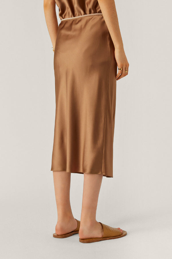 Joseph JF004893 Isaak Silk Skirt - Taupe Back