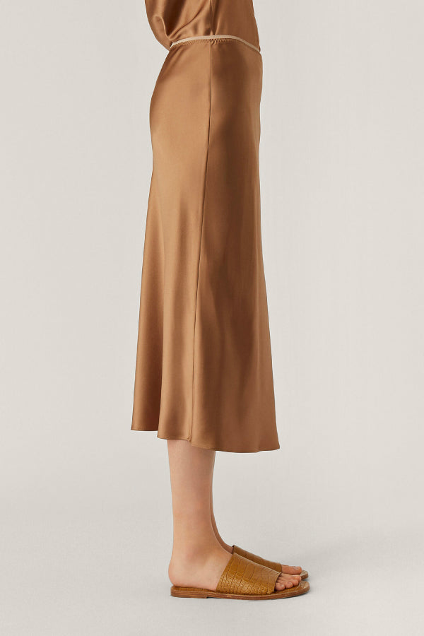Joseph JF004893 Isaak Silk Skirt - Taupe Side