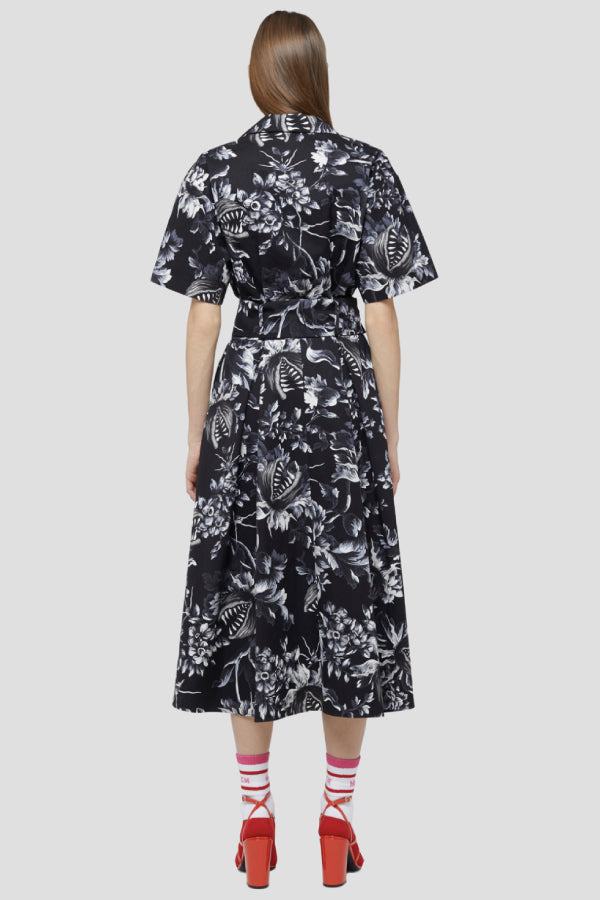 MSGM 2941MDA149207551 Belted Floral Print Dress - Black/ White Back