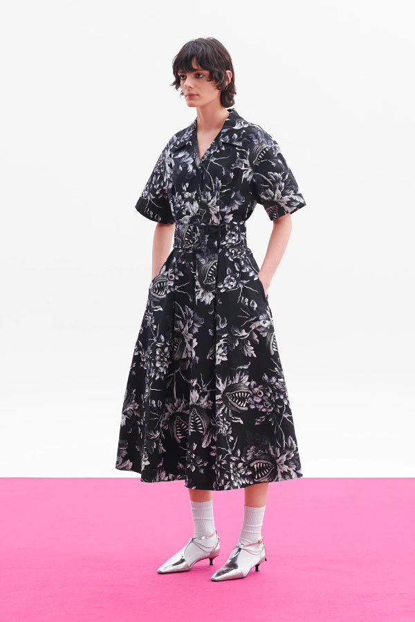 MSGM 2941MDA149207551 Belted Floral Print Dress - Black/ White Styled