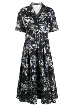 MSGM 2941MDA149207551 Belted Floral Print Dress - Black/ White
