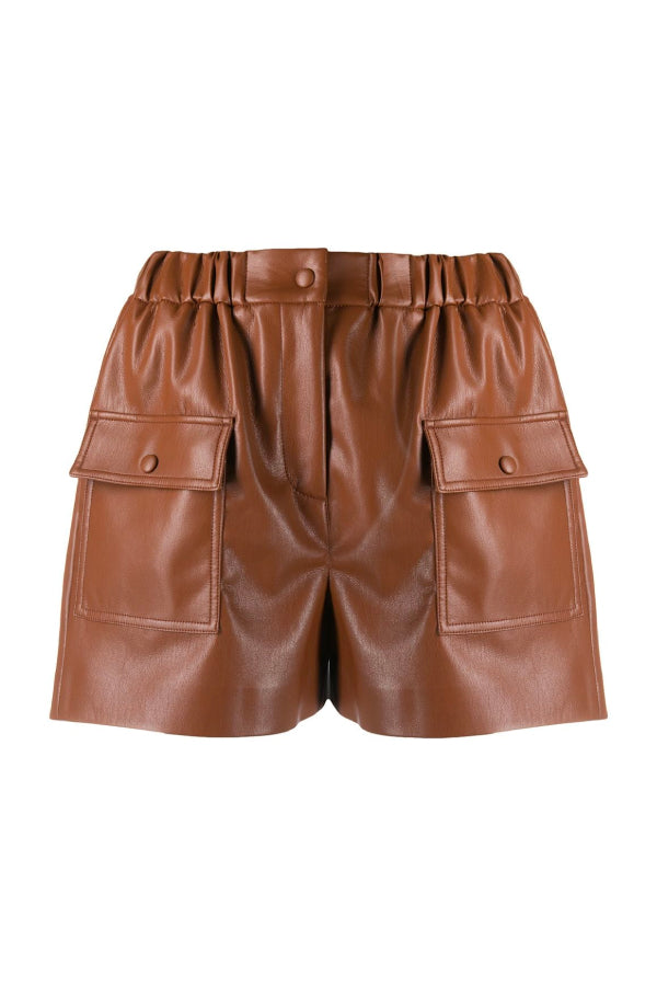 MSGM 2941MDB03207652 Vegan Leather Short - Chocolate