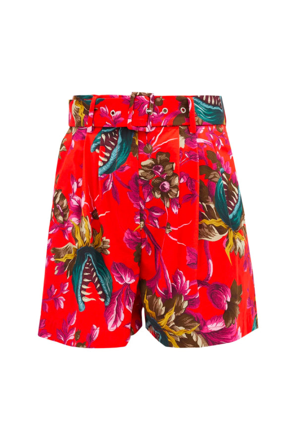 MSGM 2941MDB14207551 Printed Bermuda Short - Red/ Green