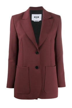 MSGM 2941MDG05207651 Single Breasted Blazer - Chocolate