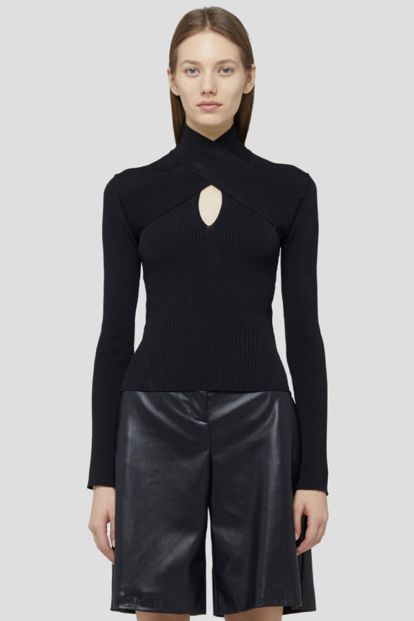 MSGM 2941MDM125207790 Open Front Knit - Black Styled Front