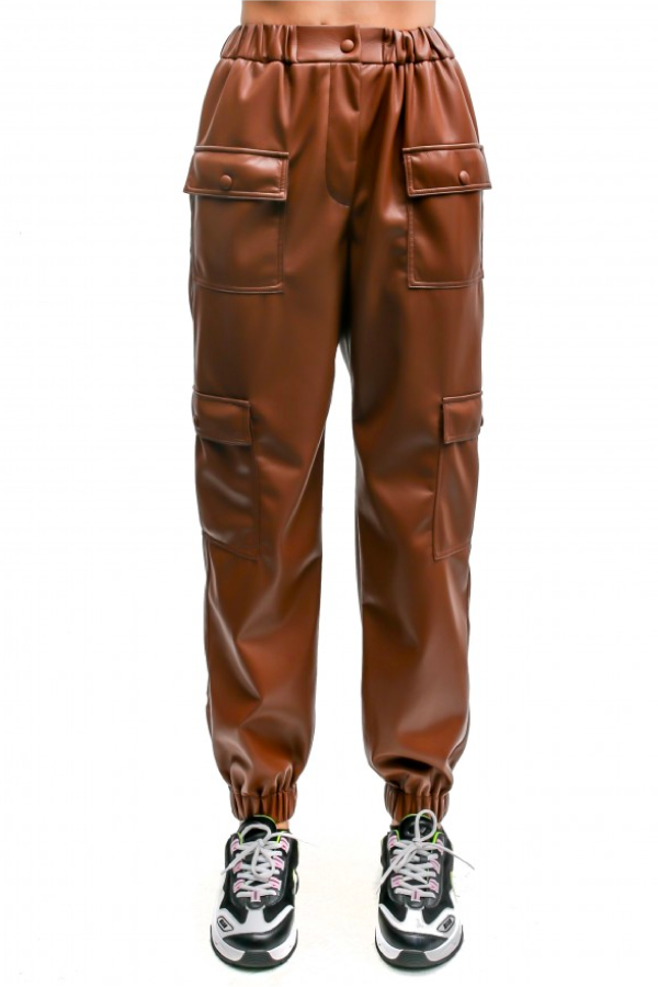MSGM Vegan Leather Jogger - Chocolate