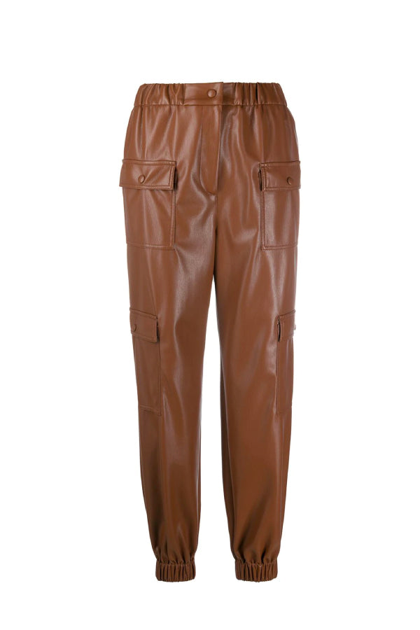 MSGM 2941MDP04207652 Vegan Leather Jogger - Chocolate