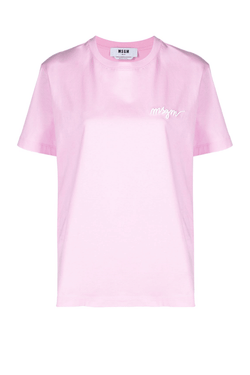 MSGM 3041MDM108-217298 Embroidered Logo T-Shirt - Pink