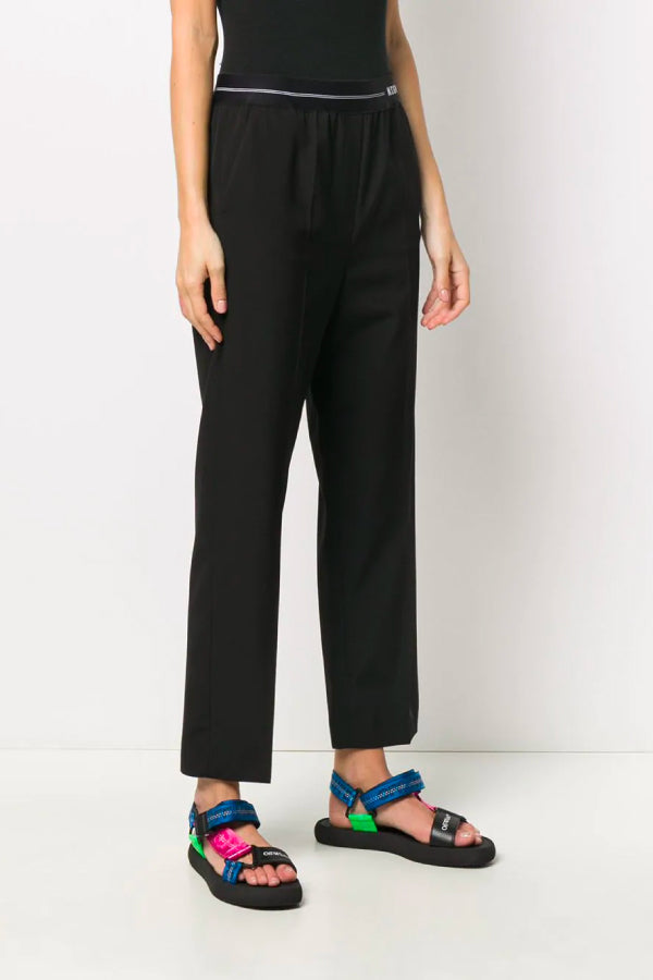 MSGM 2842MDP104 207309 Logo Waistband Pant - Black Front