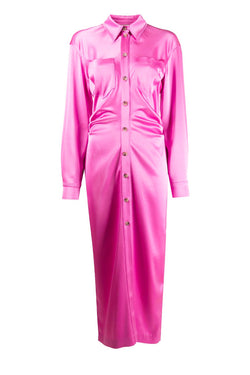 Nanushka NW20FWDR05234 Kinsley Slip Satin Shirtdress - Pink