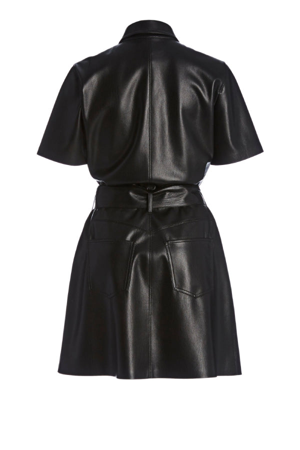 Nanushka NW20CRDR02299 Halli Vegan Leather Belted Mini Dress - Black