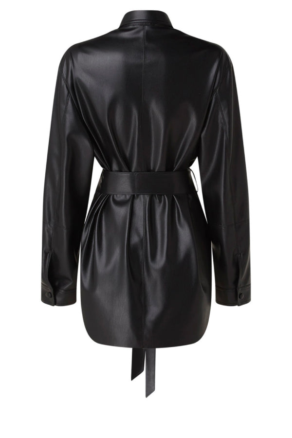 Nanushka NW20CRSH02399 Artha Vegan Leather Belted Shirt - Black