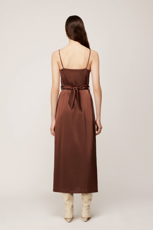 Nanushka NW20PFDR02978 Sayan Satin Slip Dress - Brown Back