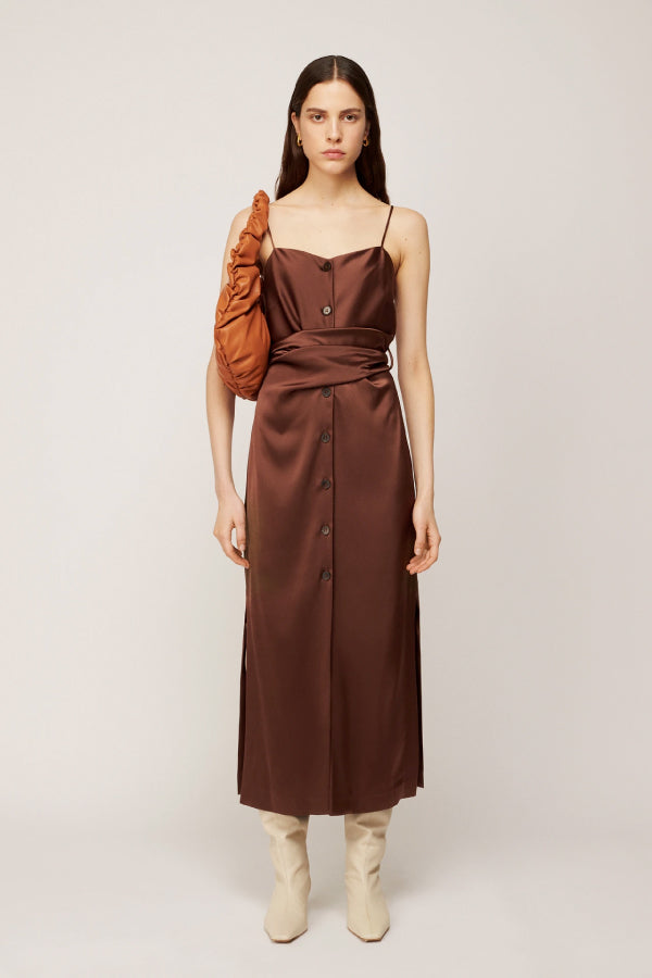 Nanushka NW20PFDR02978 Sayan Satin Slip Dress - Brown Front