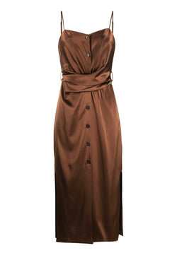 Nanushka NW20PFDR02978 Sayan Satin Slip Dress - Brown