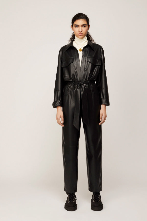 Nanushka NW20PFJS01099 Ashton Vegan Leather Jumpsuit - Black Front
