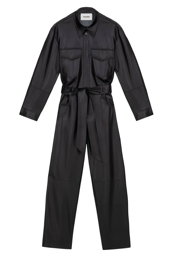 Nanushka NW20PFJS01099 Ashton Vegan Leather Jumpsuit - Black