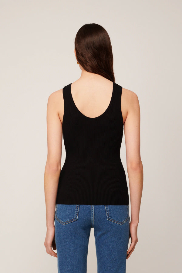 Nanushka NW20PFTP03278 Arti Comfort Knit Scoop Tank - Black Back